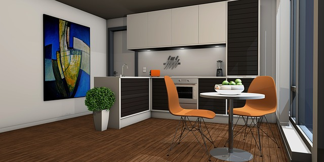 oranžové židličky, návrh kuchyně, obraz